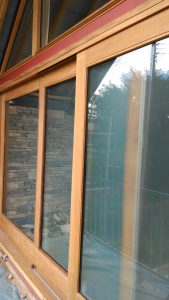glazing in wooden frames