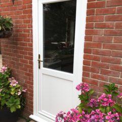 Smooth white Deceuninck residential doors, Somerset