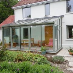 SMART cement grey lean-to conservatory